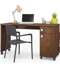 mesa para computador 1 gaveta 1 porta malta canela - lukaliam móveis