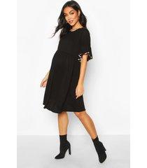 maternity leopard ringer smock dress, black