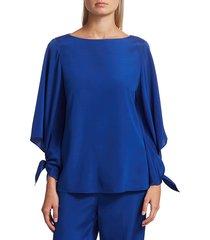 st. john women's stretch-silk crepe de chine tie-cuff blouse - vivid blue - size xs