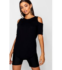 basic cold shoulder curved hem t-shirt, black