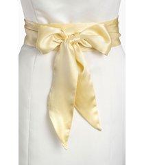 women's l. erickson silk charmeuse obi sash, size one size - butter