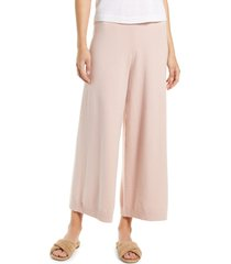 women's nordstrom wide leg sweater pants, size large - pink