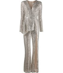 loulou sequin embroidered jumpsuit - silver