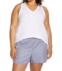 plus size women's madewell whisper cotton v-neck tank, size 1x - white
