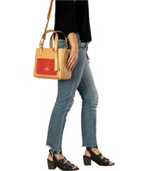 bolso natural-rojo colombian bags lucie tote mediano