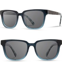 men's shwood 'prescott' 52mm acetate & wood sunglasses - deep sea/ elm/ grey