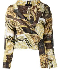 brown & gold baroque print blouse