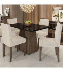 mesa de jantar 4 lugares bárbara 1147 100% mdf castanho/preto/wd22 - new ceval
