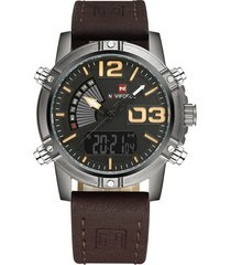 reloj cuarzo digital militar naviforce nf9095 negro caqui