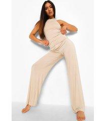 petite top met racer hals en wide leg pyjama broek set, stone