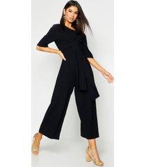 linen twist tie culotte jumpsuit, black
