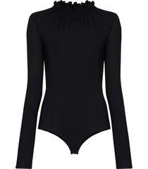 mm6 maison margiela semi sheer bodysuit - black