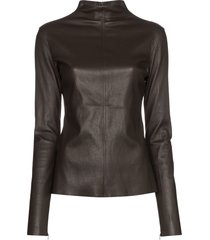 bottega veneta turtleneck leather top - brown