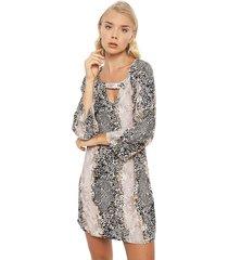 vestido ash corto beige - calce regular
