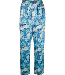 balenciaga floral-print silk trousers - blue