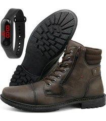 bota coturno casual sapatofran com relógio digital masculino