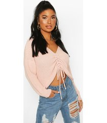 petite ruched front sweater, blush
