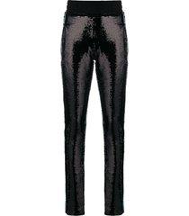 chiara ferragni sequinned skinny trousers - black