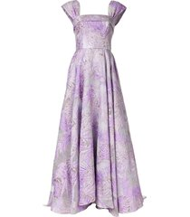 bambah square neck floral pattern gown - purple