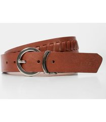 cinturón doblefaz de cuero para mujer trenzado y placa croco