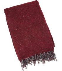 native yoga solid color woven blanket burgundy cotton