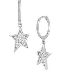 chloe & madison women's rhodium-plated sterling silver & cubic zirconia hoop-star drop earrings