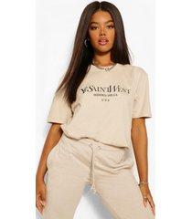 oversized ye saint west-t-shirt, zand
