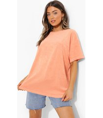 oversized badstoffen t-shirt, coral
