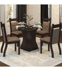 mesa de jantar 4 lugares reflect nogueira/dakota - viero móveis