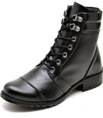 bota coturno   click calçados couro preto bico redondo