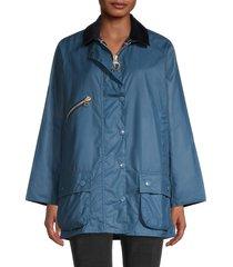 barbour women's edith waxed rain jacket - denim blue - size 12