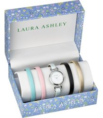 laura ashley silver t-bar slidethrough interchangeable stone lugs set watch