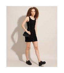 vestido canelado com botões curto sem manga preto