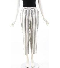 brunello cucinelli white striped sequin silk cropped pants white sz: m