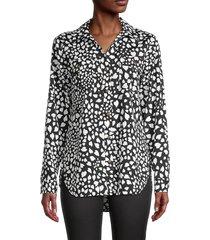 karl lagerfeld paris women's heart-print shirt - black white - size xl