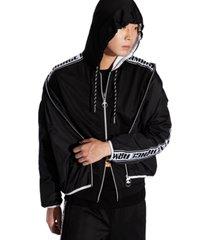 ax armani exchange sleeve zip up hooded sweatshirt.