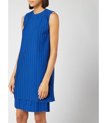 victoria, victoria beckham women's pleated shift dress - bright blue - m