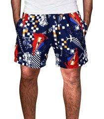 shorts floral ks microfibra com bolsos  laterais 86a.15 vermelho