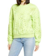 women's endless rose lace sweatshirt, size large - green