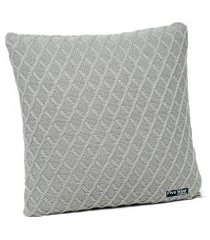 capa de almofada tricot 40x40 c/zíper sofa cod 354.5 cinza claro