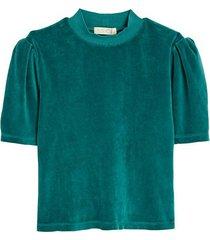 short-sleeve puff shoulder velour top
