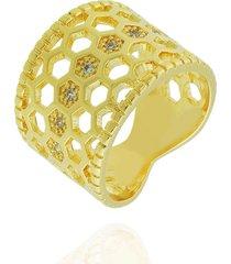 anel dona diva semi joias largo colmeia dourado