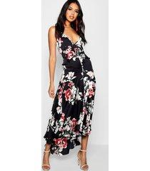 boutique satijnen lo losvallende bloemenprint jurk met ruches, zwart