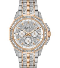 bulova men's chronograph phantom two-tone stainless steel & crystal accent bracelet watch 41.5mm