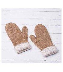 100% alpaca reversible mittens, 'striking contrast in tan' (peru)