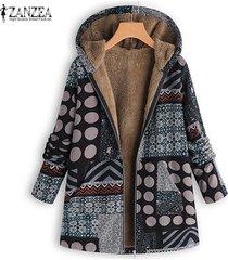 zanzea mujeres lunares informal mullido grueso abrigo de la impresión floral capa de la chaqueta de la vendimia -negro