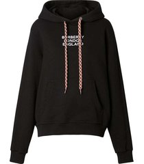 embroidered logo drawstring hoodie