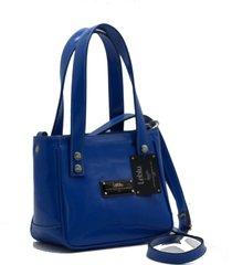 cartera de cuero azul leblu mini