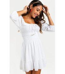 alma smocked mini dress - white