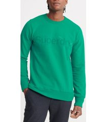 superdry men's core logo faux suede loopback sweatshirt
